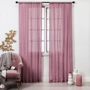"Dusty Rose Crushed Sheer Curtain Panels 84"" x 42"""